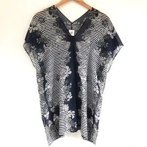 Cabi Yacht Tunic sheer blouse floral striped M
